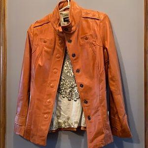 Danier xs orange leather jacket